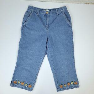 Christopher & Banks Embroidered Denim Capri Pants